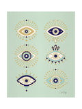 Mint Evil Eyes Giclee Print by Cat Coquillette