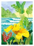 Yellow Canna with Waves - Tropical Paradise Hawaii - Hawaiian Islands Plakater av Robin Wethe Altman