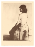 Grass Skirt, Hawaii - Topless Native Girl - from Etchings and Drawings of Hawaiians Poster di John Melville Kelly