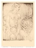 Hawaiian Dancer, Hawaii - Topless Native Girl - from Etchings and Drawings of Hawaiians Poster di John Melville Kelly