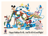 Mickey Mouse and Disney Characters - Happy Holidays to All - Delta Air Lines ポスター :  Pacifica Island Art