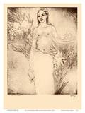 Girl with Bananas, Hawaii - Topless Hawaiian Girl - from Etchings and Drawings of Hawaiians Poster di John Melville Kelly