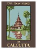 See Calcutta, India - Burmese Pagoda in Eden Gardens - East Indian Railway Pôsteres por Desmond Doig