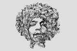 Jimi Hendrix Smoke Prints by Octavian Mielu