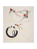 Victory Over the Sun, 1. Part of the Show Machinery Giclee-trykk av El Lissitzky
