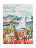 Two Sailboats and Cottage II Premium Giclee Print by Karen Fields