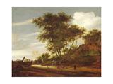 Wooded landscape with children playing on the road by a cottage, 1658 Giclee Print by Salomon van Ruisdael or Ruysdael