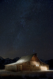 Light Painting of Old Barn on Mormon Row under a Star-Filled Sky Photographic Print by Bob Smith