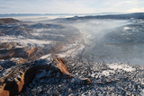 Fresh Snow and an Early Morning Fog Sit on Top of the Desert in Utah Impressão fotográfica por Pete McBride