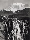 A Cascading Branch of the Upper Paradise River, Mount Rainier in Back Fotografisk trykk av A. H. Barnes