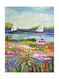 Two Sailboats and Cottage I Premium Giclee Print by Karen Fields