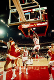 Basketball match in progress, Michael Jordan, Chicago Bulls, United Center, Chicago, Cook County... 写真プリント