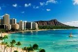Hotels on the beach, Waikiki Beach, Oahu, Honolulu, Hawaii, USA Photographic Print