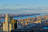 Panoramic views of New York City and Hudson River at sunset looking toward Central Park from Roc... Impressão fotográfica