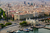 Aerial view of La Rambla near the waterfront with Columbus statue in Barcelona, Spain Reproduction photographique