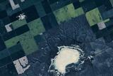 Satellite view of fields near Bladworth, Saskatchewan, Canada Impressão fotográfica