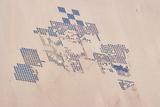 Satellite view of fields in Shamal Darfur, Sudan Fotografisk tryk