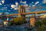 Brooklyn Bridge at sunset, NY NY - in black and white Fotografisk trykk