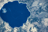 Satellite view of Crater Lake, Oregon, USA Fotografisk trykk
