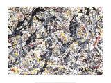 Silver Over Black, White, Yellow & Red Poster van Jackson Pollock
