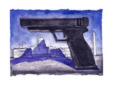 Large gun casts a shadow over Capitol Hill. Poster par Matt Wuerker