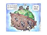 The top 1% controls 46% of the world's wealth.  Oxfam.  1%.  Still not enough. Affiches par Matt Wuerker
