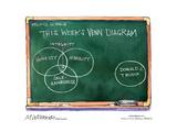 This week's Venn diagram. Integrity. Honesty. Humility. Self-awareness. Donald J. Trump. Affiche par Matt Wuerker