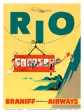 Rio de Janeiro, Brazil - Cable Car to Sugar Loaf Mountain - Braniff International Airways Poster von  Pacifica Island Art