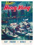 Visit Hong Kong - Hong Kong Harbor - BOAC (British Overseas Airways Corporation) Kunstdrucke von  Pacifica Island Art