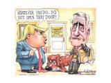 Whatever you do, do not open that door! Trump Family Inc. Unlimited. Special Counsel Mueller. Art par Matt Wuerker