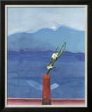 Mount Fuji and Flowers Posters by David Hockney