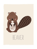 Forest Friends Beaver Lámina giclée prémium por  Kindred Sol Collective