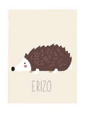 Forest Friends Hedgehog (Spanish) Lámina giclée prémium por  Kindred Sol Collective