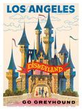 Los Angeles, USA - Disneyland - Go Greyhound (Greyhound Bus Lines) California Poster di  Pacifica Island Art