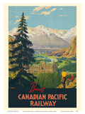 Banff Springs Hotel - Canadian Rockies - Canadian Pacific Railway Stampe di Percy Trompf