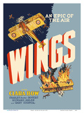 Wings - An Epic of the Air - Starring Clara Bow and Gary Cooper Arte por  Pacifica Island Art