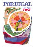 Portugal - Fly TWA (Trans World Airlines) - Mermaid Windmill Stampe di David Klein