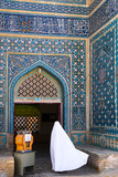 Woman in white chador enters Jameh Mosque, Varzaneh, Iran, Middle East Photographic Print by James Strachan