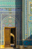Door and facade detail, Jameh Mosque, Yazd, Iran, Middle East Photographic Print by James Strachan