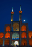 Amir Chakhmagh Complex floodlit with moon, Yazd, Iran, Middle East Photographic Print by James Strachan