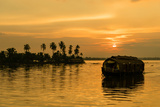 A traditional houseboat moves past the setting sun on the Kerala Backwaters, Kerala, India, Asia Impressão fotográfica por Logan Brown