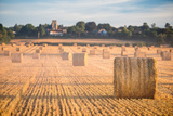 Hay bales in the Cuddesdon countryside, Oxfordshire, England, United Kingdom, Europe Fotoprint van John Alexander