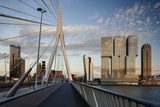 Erasmus Bridge and De Rotterdam, Wilhelminakade, Rotterdam, Netherlands, Europe Lámina fotográfica por Ben Pipe