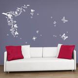 Butterflies Vine in White Adesivo de parede