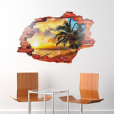 3D View Window Palm Beach Adesivo de parede