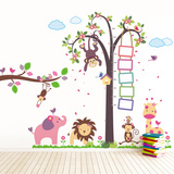 Nursery Monkey Height Measure with Elephant Animals Adesivo de parede