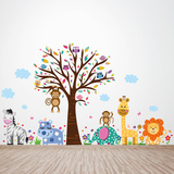 Happy London Zoo Animal Tree Kids Adesivo de parede