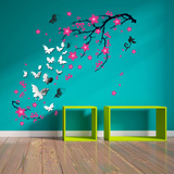Mirror Butterflies with Pink Blossom Flowers Adesivo de parede