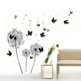 Black Dandelion with 3D Black Butterflies Adesivo de parede