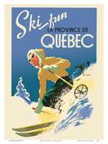 Quebec, Canada - Ski Fun in the Provence of Quebec (La Province de Québec) Stampe di  Pacifica Island Art